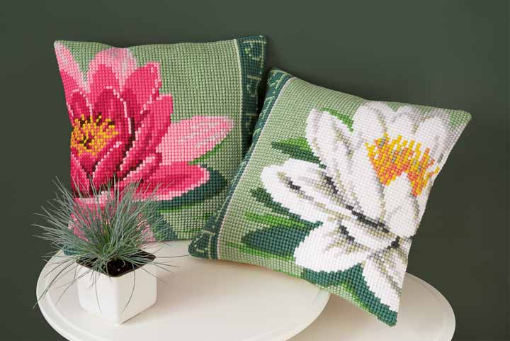 Vervaco Cross Stitch Cushion Kit: Pink Lotus Flower Flowers & Nature CSCK