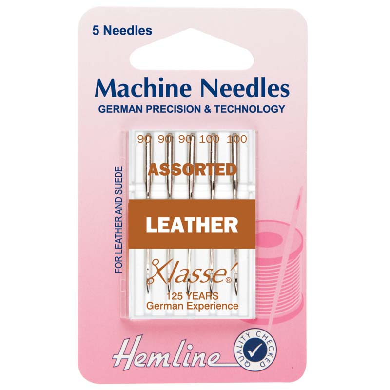 Hemline Sewing Machine Needles: Leather: Mixed: 5 Pieces