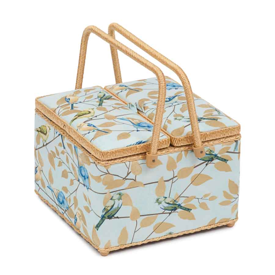 HobbyGift HGTLE_477 | Classic Collection | Twin Lid Square Sewing Box | Fly Away