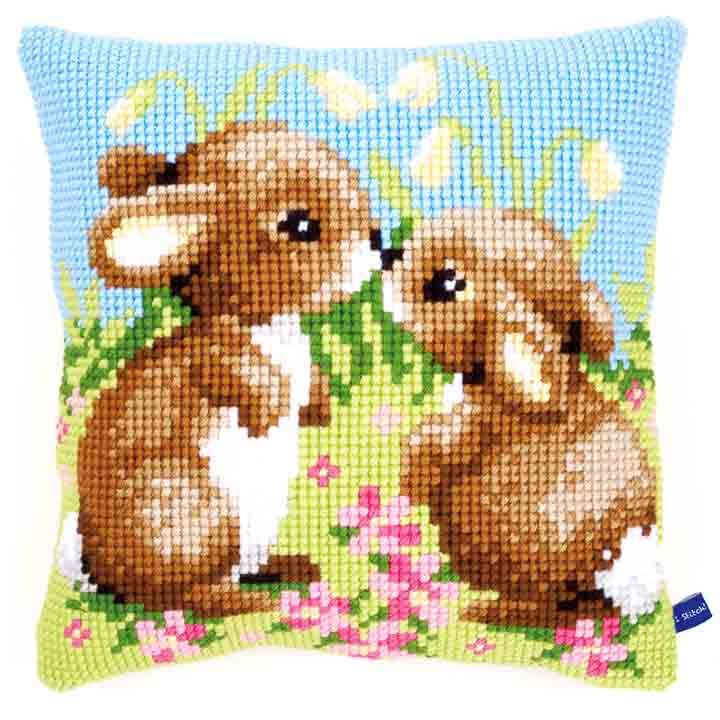 Vervaco Cross Stitch Cushion: Little Rabbits