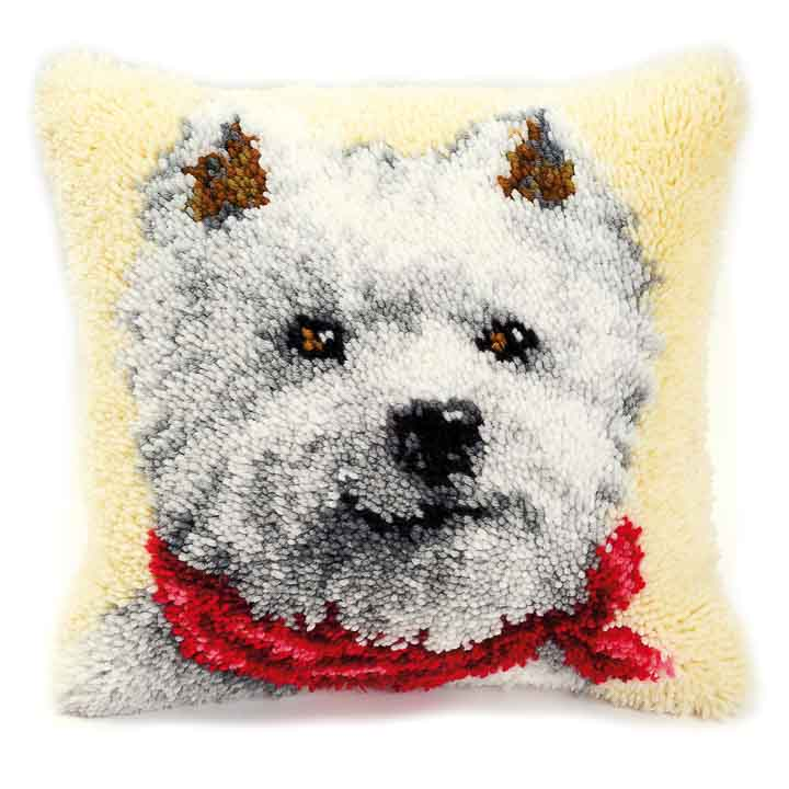 Vervaco Latch Hook Kit: Cushion: West Highland Terrier Latch Hook Cushion Kit