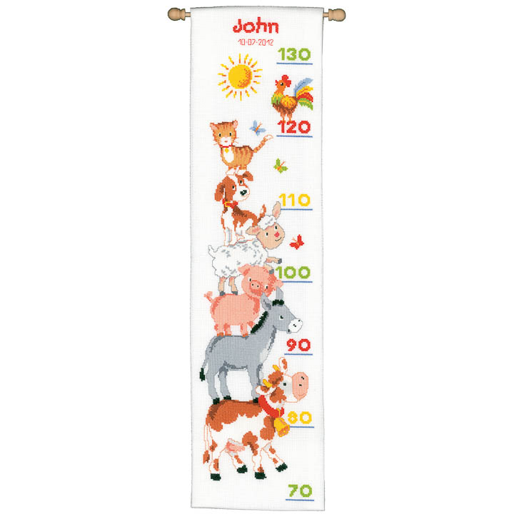 Vervaco Counted Cross Stitch Kit: Height Chart: Farm Animals