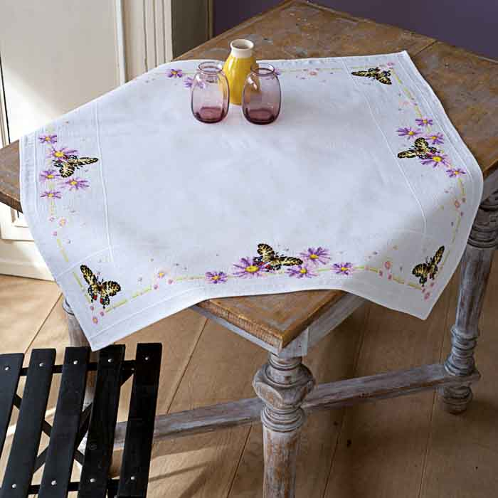 Vervaco Counted Cross Stitch Kit: Tablecloth: Tits & Spring Flowers | PN_0156340