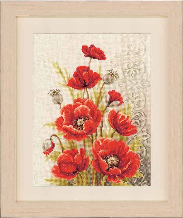 Vervaco Counted Cross Stitch: Poppies & Swirls