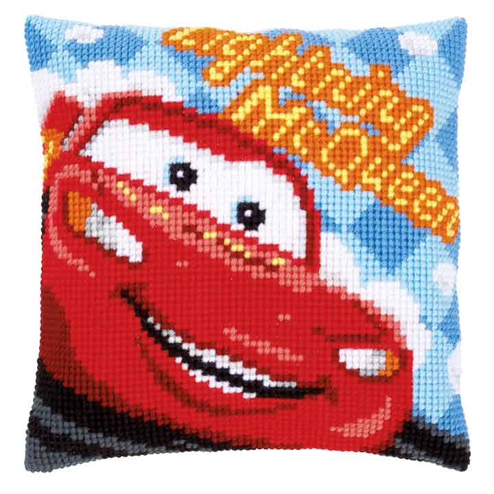 Vervaco Cross Stitch Cushion Kit: Lightning McQueen Characters CSCK