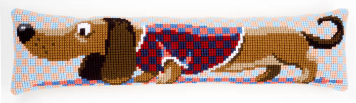 Vervaco Printed Cross Stitch Draft Excluder: Dachshund In Jacket Draught Excluder CSK