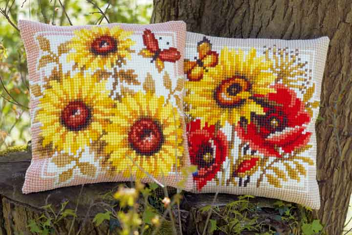 Vervaco Cross Stitch Cushion: Sun Flowers Flowers & Nature CSCK