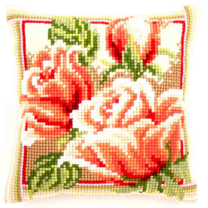 Vervaco Cross Stitch Cushion: Pink Roses II Flowers & Nature CSCK