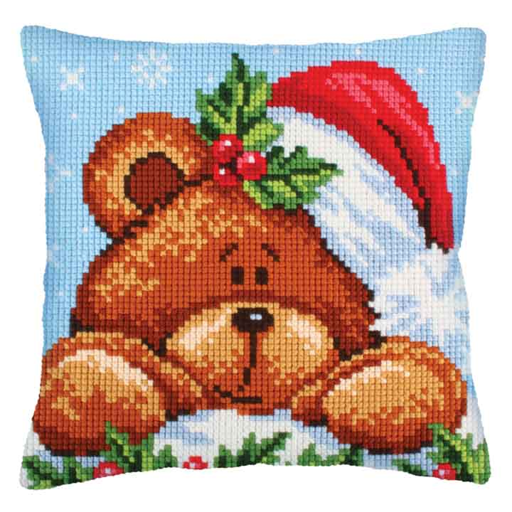 Collection D Art Cross Stitch Cushion: Christmas with a Teddy Bear  Christmas CSCK