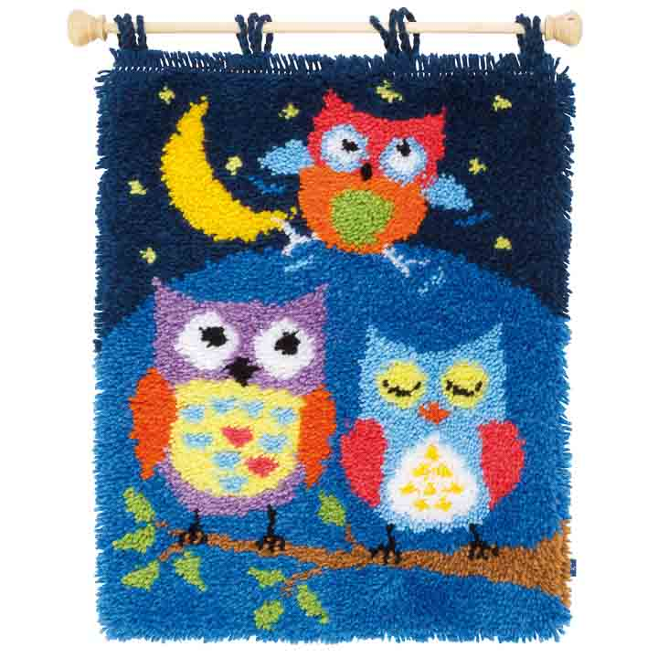 Vervaco Latch Hook Kit: Rug: Owls in the Night Latch Hook Rug & Wall Hanging Kit