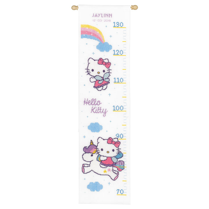 Vervaco Counted Cross Stitch: Height Chart: Hello Kitty and Rainbow