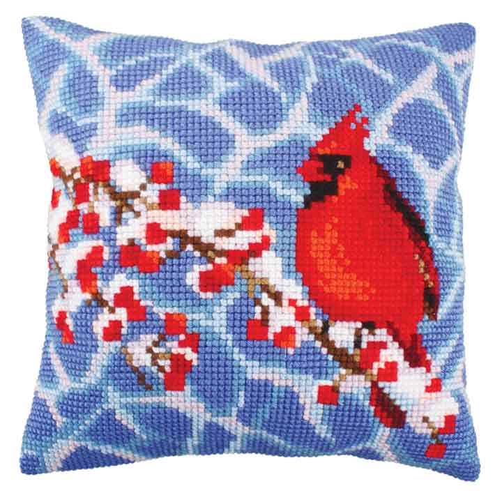 Collection D Art Cross Stitch Cushion: Winter Red Berries