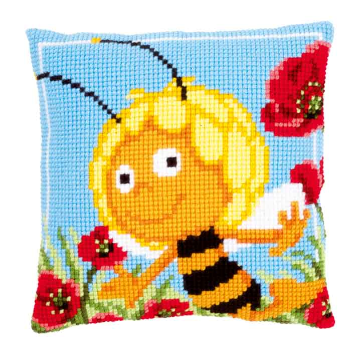 Vervaco Cross Stitch Cushion: Maya in the Poppies Flowers & Nature CSCK