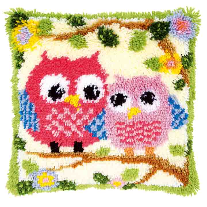 Vervaco Latch Hook Cushion Kit: Owls on a Branch Latch Hook Cushion Kit