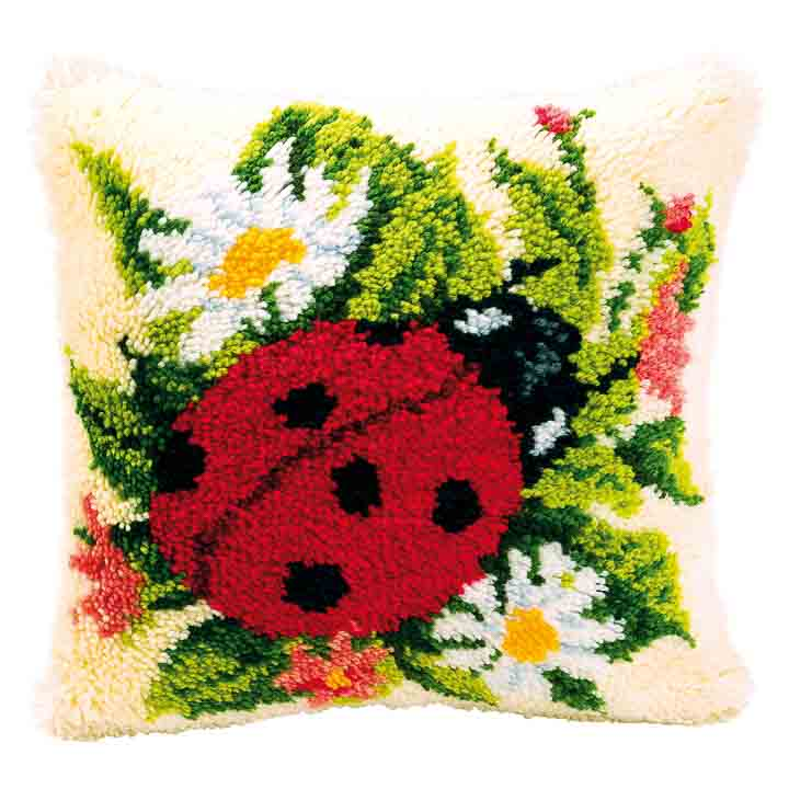 Vervaco Latch Hook Kit: Cushion: Ladybird