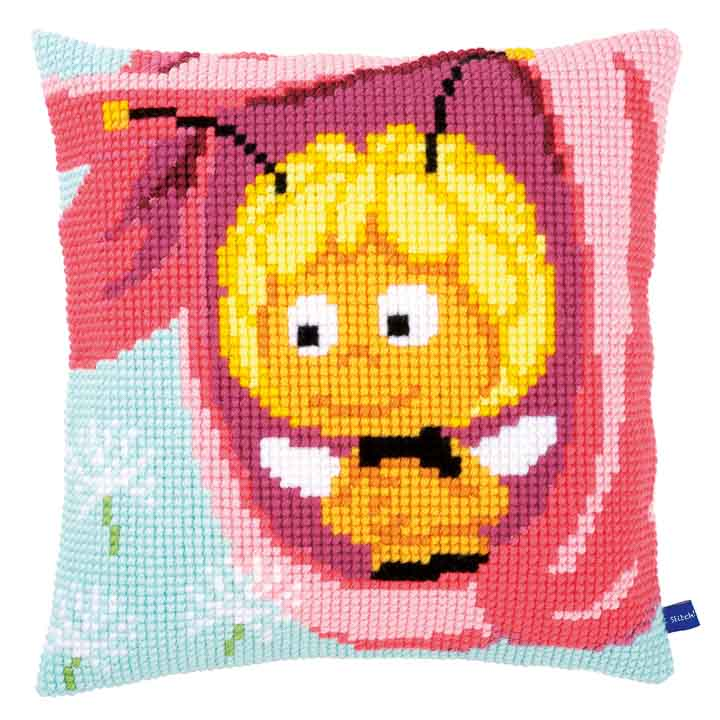 Vervaco Cross Stitch Cushion: Maya in a Pink Flower Insects & Bugs CSCK