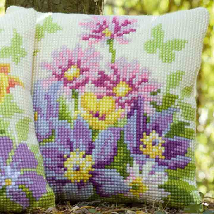 Vervaco Cross Stitch Cushion: Pastel Flowers
