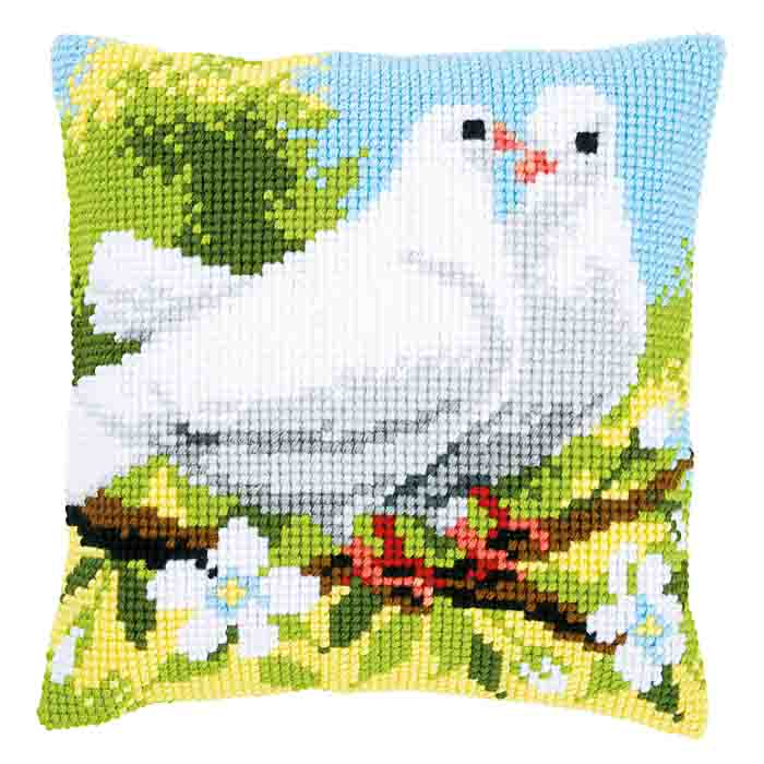 Vervaco Cross Stitch Kit: Cushion: White Pigeons | PN_0158106