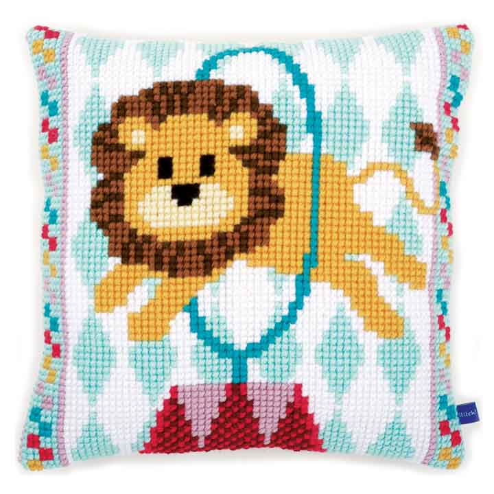 Vervaco Cross Stitch Cushion: Circus Lion Animals & Birds CSCK