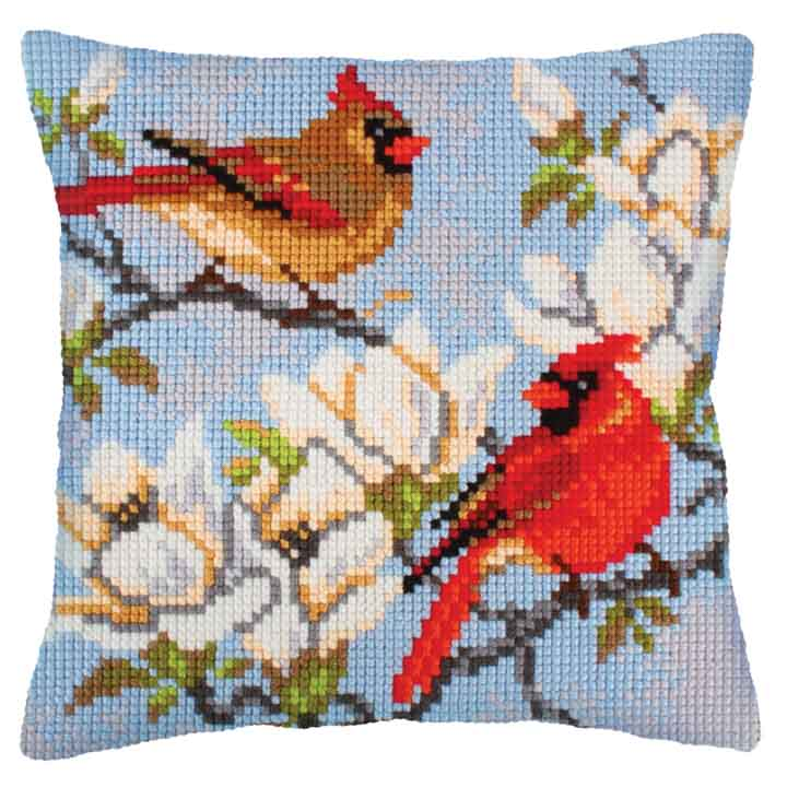 Collection D Art Cross Stitch Cushion: On a Branch of Magnolia