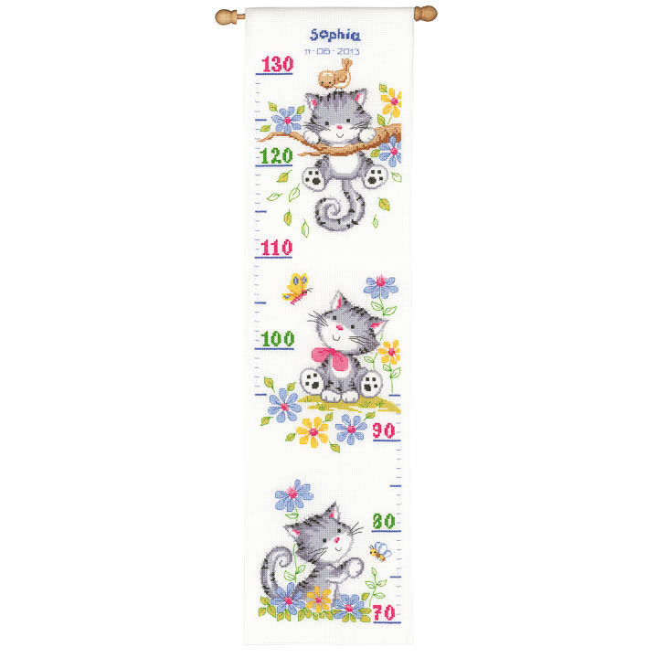 Vervaco Counted Cross Stitch Kit: Height Chart Kitten