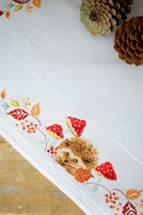 Vervaco Counted Cross Stitch Tablecloth: Hedgehog & Mushrooms