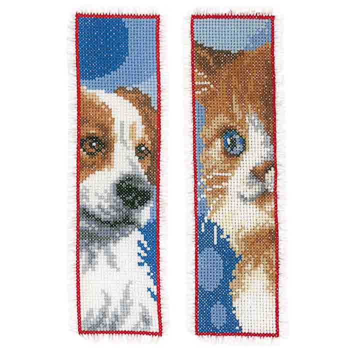 Vervaco Counted Cross Stitch Kit: Bookmark: Cat & Dog: Set of 2 | PN_0162195
