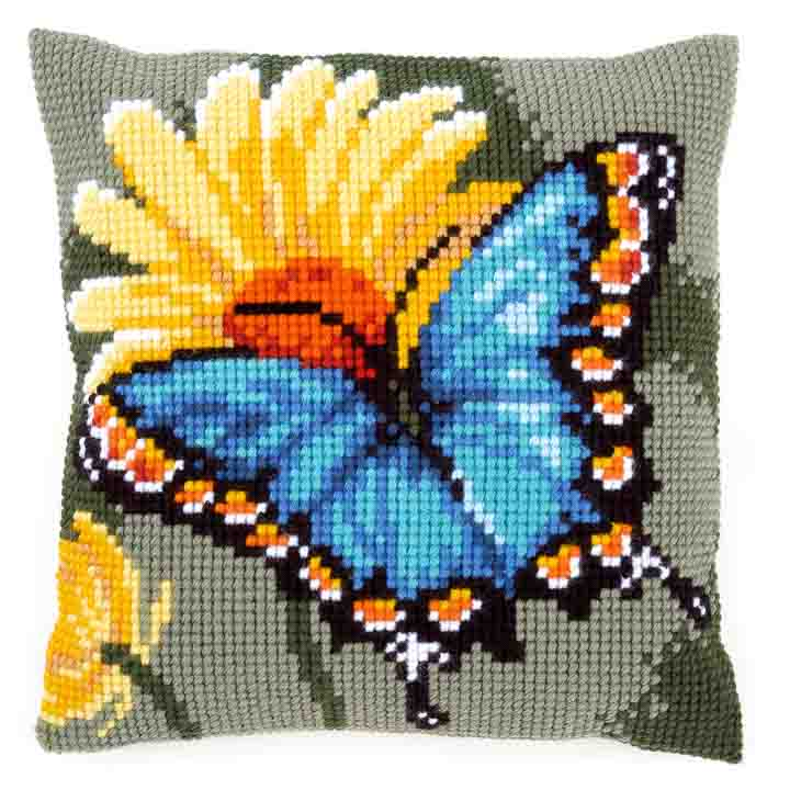 Vervaco Cross Stitch Cushion: Butterfly & Yellow Flower Insects & Bugs CSCK