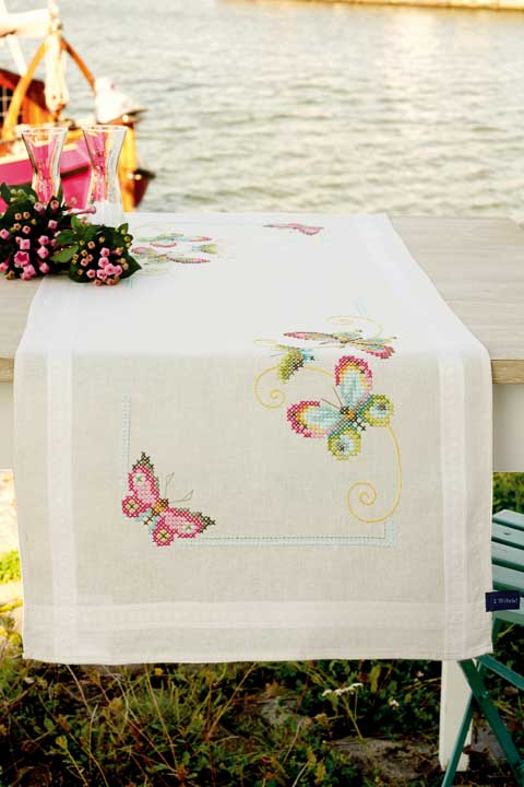 Vervaco Counted Cross Stitch: Runner: Butterflies Runners and Tablecloths CSK