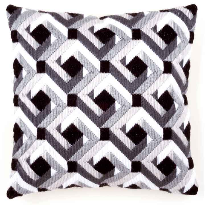 Vervaco Long Stitch Cushion: Black & White