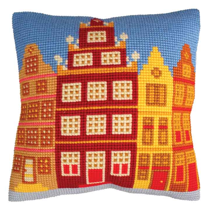 Collection D Art Cross Stitch Cushion: Houses Buildings CSCK