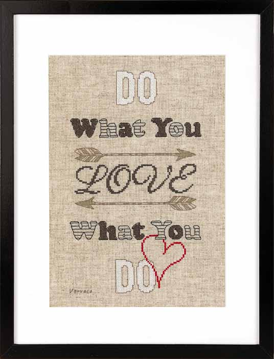 Vervaco Counted Cross Stitch Kit: Do What You Love | PN_0158480 Text & Patterns CSK