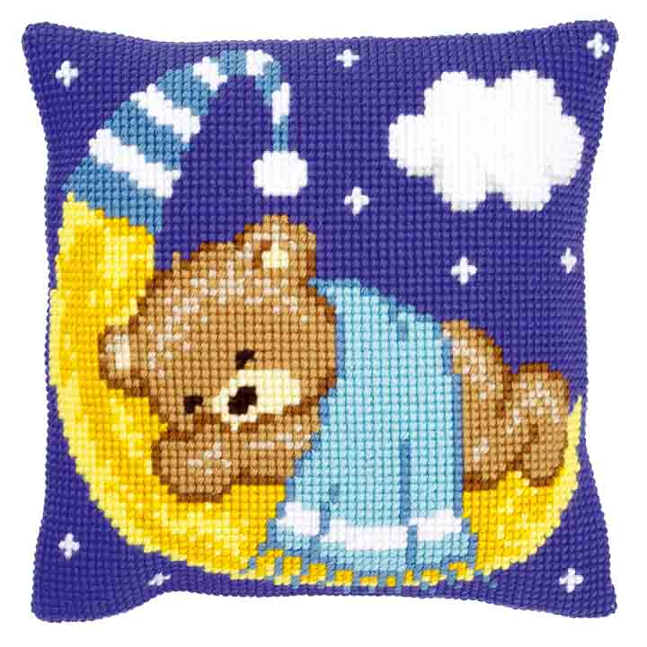 Vervaco Cross Stitch Cushion: Teddy on the Moon: Blue Bears & Mice CSCK