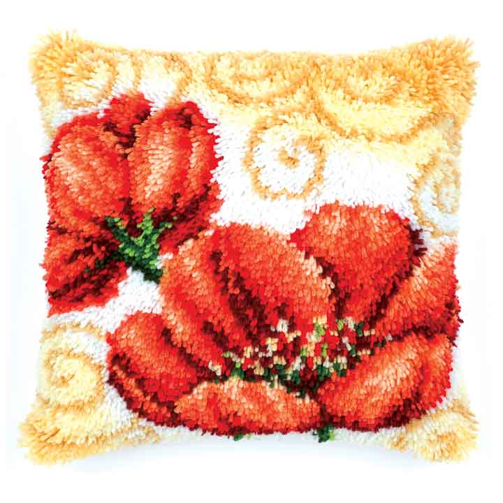 Vervaco Latch Hook Cushion: Poppies