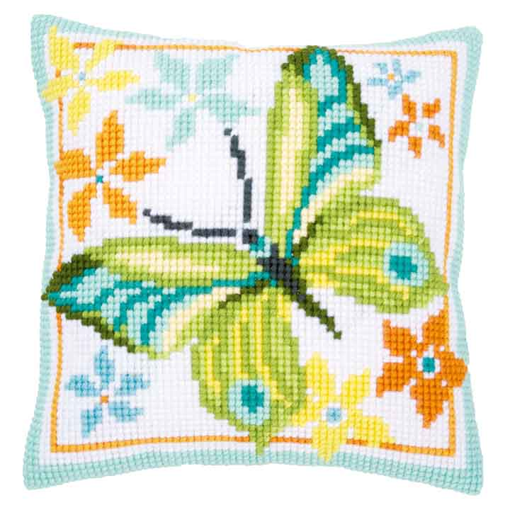 Vervaco Cross Stitch Cushion Kit: Green Butterfly