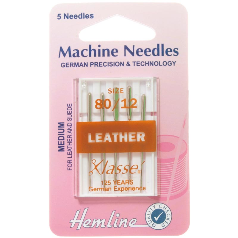 Hemline Sewing Machine Needles: Leather: Medium 80/12: 5 Pieces