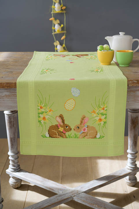 Vervaco Counted Cross Stitch Kit: Runner: Easter Bunnies Runners and Tablecloths CSK