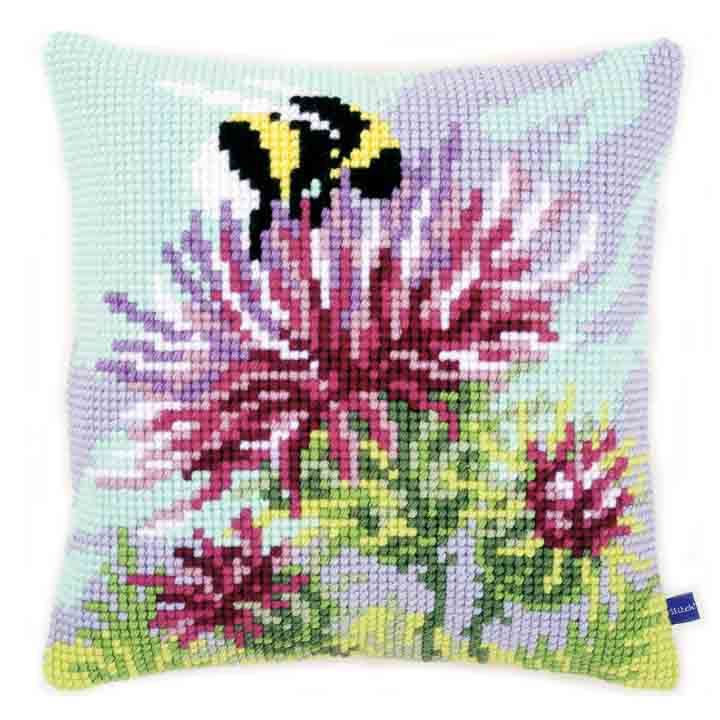 Vervaco Cross Stitch Cushion: Thistle with Bumblebee Insects & Bugs CSCK