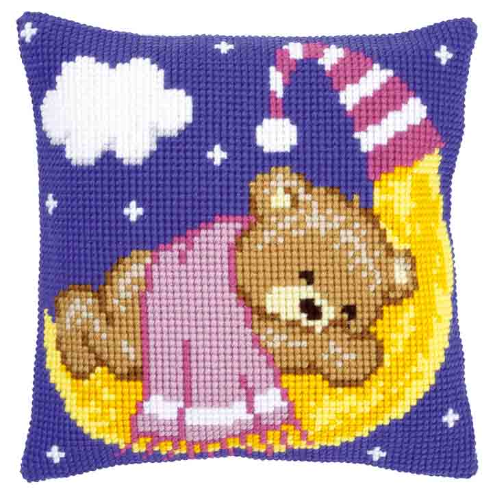 Vervaco Cross Stitch Cushion: Teddy on the Moon: Pink Bears & Mice CSCK