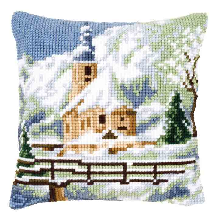 Vervaco Cross Stitch Cushion: Alpine Scene 2 Flowers & Nature CSCK