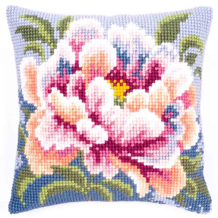 Vervaco Cross Stitch Cushion: Peony Flowers & Nature CSCK