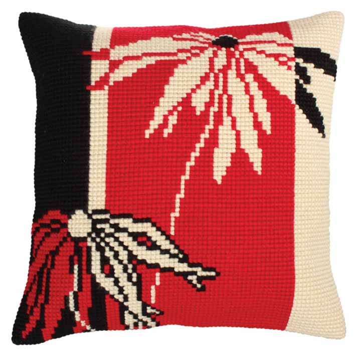 Collection D Art Cross Stitch Cushion: Red and Black Flowers & Nature CSCK