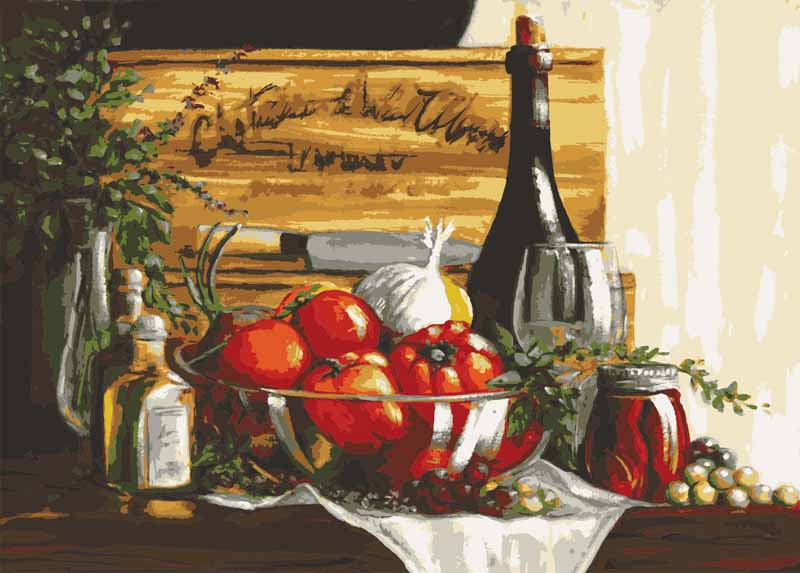 Collection D Art Printed Tapestry Canvas: Still Life with Peppers and Wine Fruits & Food PTC