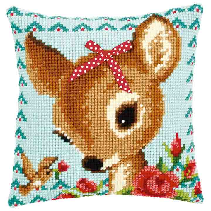 Vervaco Cross Stitch Cushion: Bambi with a Bow