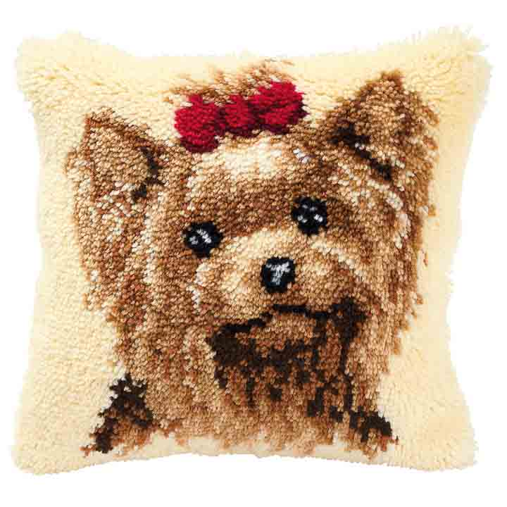 Vervaco Latch Hook Kit: Cushion: Yorkshire Terrier
