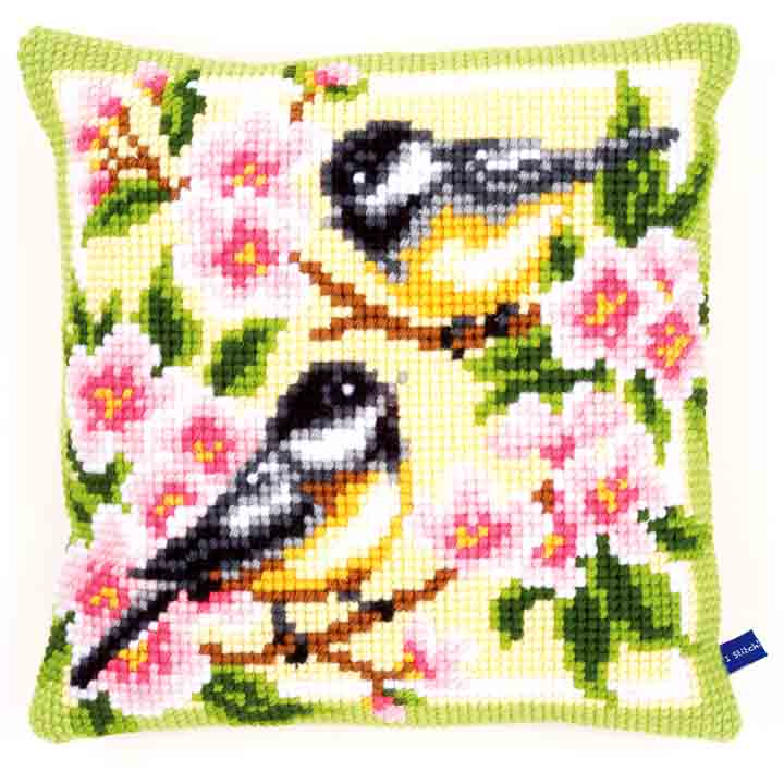 Vervaco Cross Stitch Cushion: Birds and Blossoms Birds CSCK