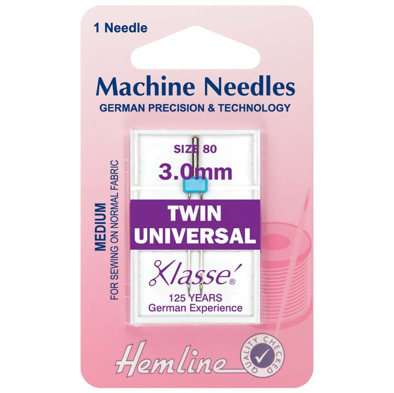 Hemline Sewing Machine Needles: Twin Universal: 80/12, 3mm: 1 Piece Twin Needle