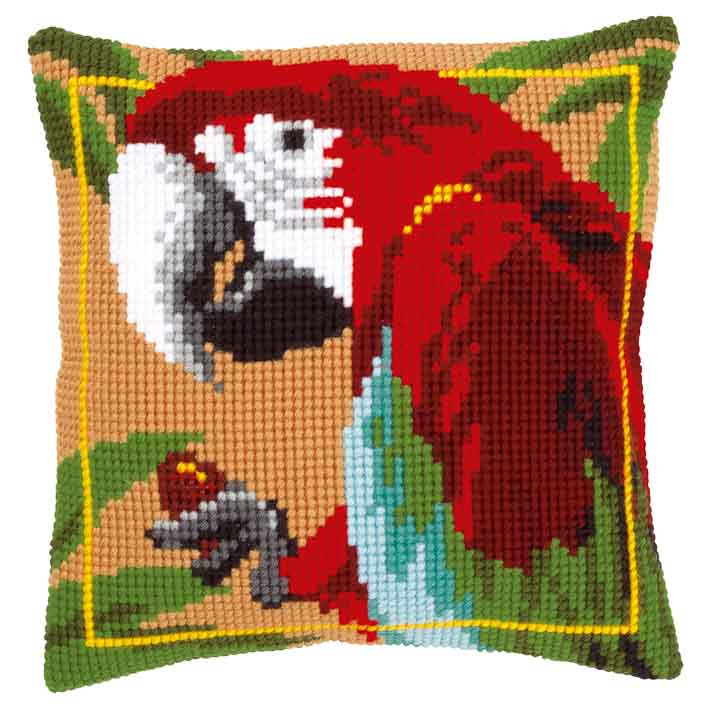Vervaco Cross Stitch Cushion: Red Macaw