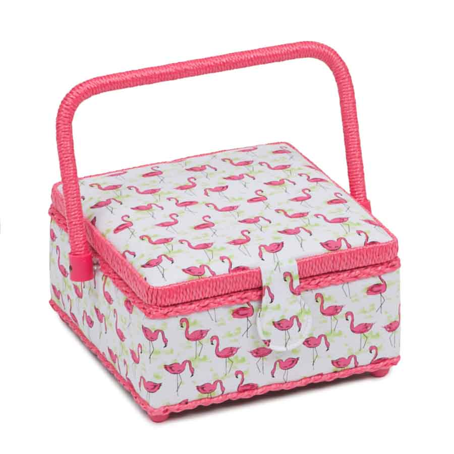 HobbyGift Classic Collection: Small Square Sewing Box: Flamingo Flock | HGS_473 Bird Print Sewing Box