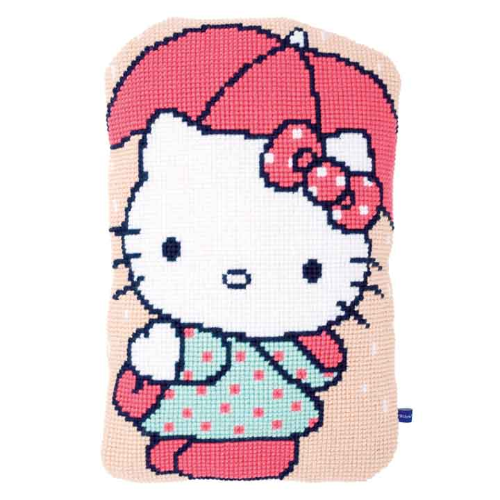 Vervaco Cross Stitch Cushion: Hello Kitty: Under Umbrella Characters CSCK